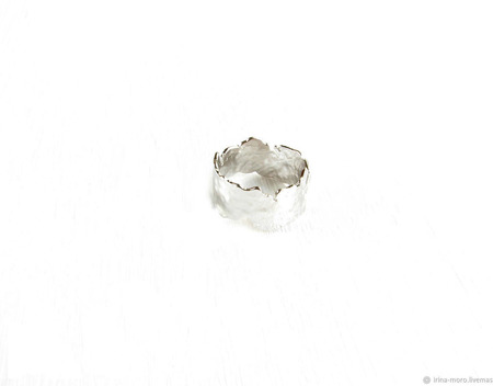 """Серебряное мятое кольцо """"Искушение"""" ручной работы на заказ"""
