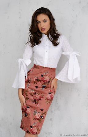 Блуза из батиста с бантами на рукавах ручной работы на заказ