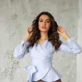 Блуза с запАхом голубая