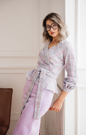 "Блуза с запАхом из твида ""Лаванда"" ручной работы на заказ"