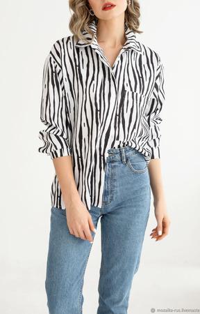 """Рубашка оверсайз, в стиле бойфренд, принт """"Зебра"""" ручной работы на заказ"""