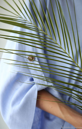 """Платье льняное сиреневое с объемными рукавами """"Лаванда"""" ручной работы на заказ"""