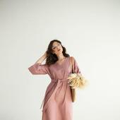 """Платье льняное розовое с объемными рукавами """"Пудра"""""""