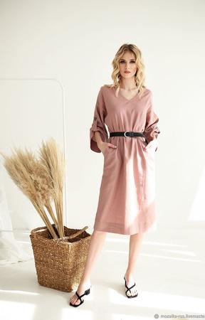 """Платье льняное розовое с объемными рукавами """"Пудра"""" ручной работы на заказ"""