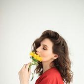 """Платье льняное красное с объемными рукавами """"Терракота"""""""