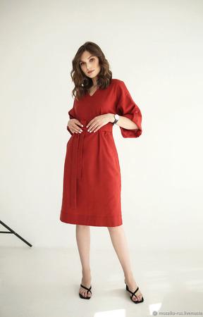 """Платье льняное красное с объемными рукавами """"Терракота"""" ручной работы на заказ"""