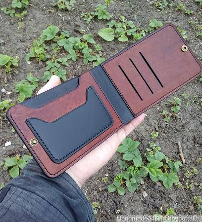 Бумажник-портмоне для автодокументов, денег, карт ручной работы на заказ