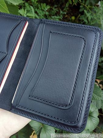 Бумажник кожаный, чёрная классика ручной работы на заказ
