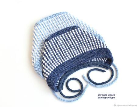 Тёплые вязаные чепчики для малышей. Меринос с альпакой. ручной работы на заказ