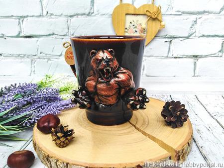 """Декор кружки """"Грозный медведь"""" ручной работы на заказ"""