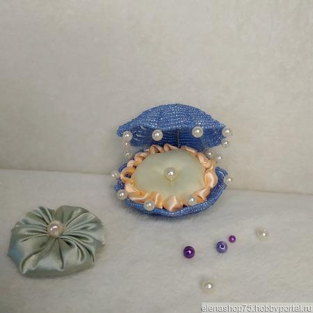 Ракушка из бисера с подушечкой для кольца ручной работы на заказ