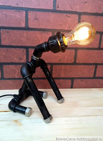 Лампа Loft/Steampunk «Доберман» ручной работы на заказ