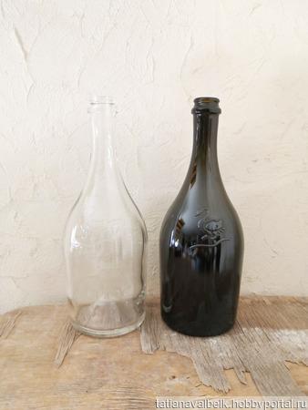 Бутылки 2 цвета Лебедь прозрачная и коричнево-оливковая ручной работы на заказ