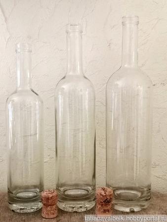 Бутылки прозрачные белые с толстым дном 3 размера ручной работы на заказ