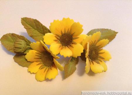 Заколка-зажим с осенними цветами ручной работы на заказ