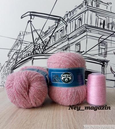 Пух норки. Цвет 859 розовый меланж ручной работы на заказ
