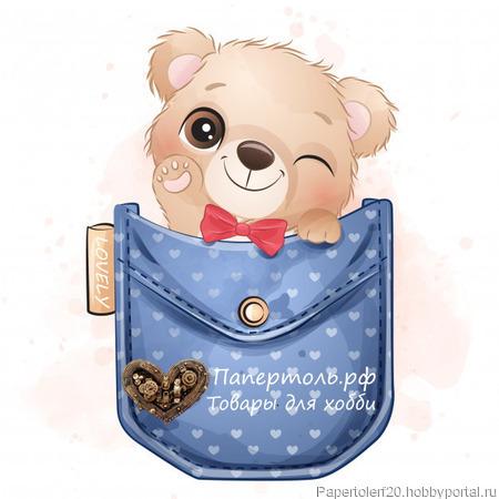 """Папертоль """"Мишка в кармашке"""", р.12*12, арт. РР0124 ручной работы на заказ"""