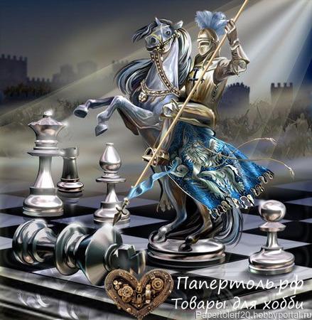 """Папертоль """"Шах и мат"""", р. 19*20, арт. РР0135 ручной работы на заказ"""