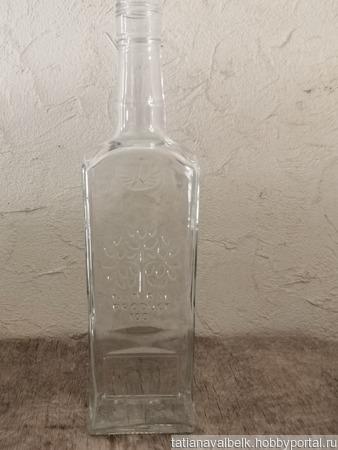 """Бутылка с гранями прозрачное стекло """"Дерево"""" ручной работы на заказ"""