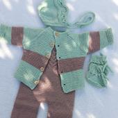 Комплекты одежды для малышей: кардиган+полукомбинезон+чепчик+пинетки