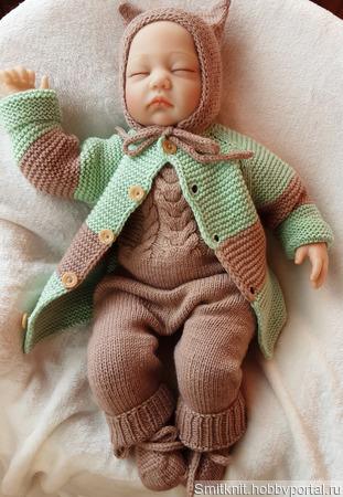Комплекты одежды для малышей: кардиган+полукомбинезон+чепчик+пинетки ручной работы на заказ