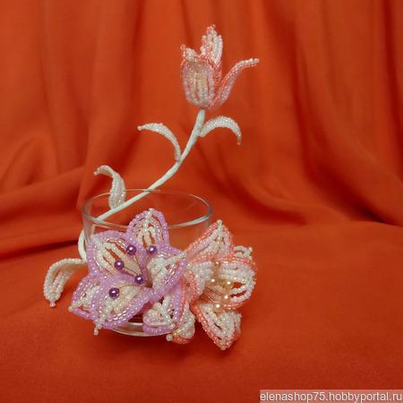 Подсвечник с цветами из бисера ручной работы на заказ