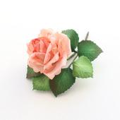 """Брошь объемная с цветком розы из фоамирана """"Розовая роза"""""""