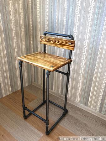 Барный стул в стиле Лофт из водопроводных труб ручной работы на заказ