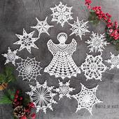 Набор снежинок с ангелом