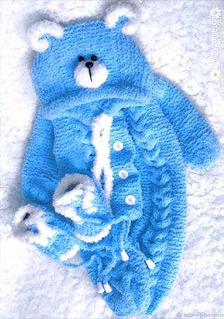 Вязаный комбинезон для новорожденных ручной работы на заказ