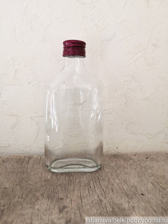 Бутылка маленькая плоская с крышкой 250 мл ручной работы на заказ