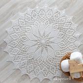Круглая салфетка крючком белого цвета
