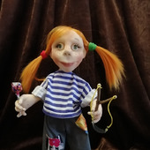 Текстильно-скульптурная чулочная кукла Апатамушта