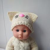Свитер и шапочка кошка для пупса или куклы