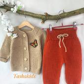 Костюм вязаный детский кофточка и штанишки