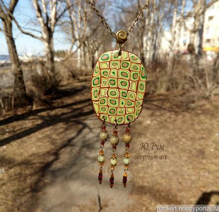 """Кулон """"Лесная тишь"""" на цепочке с подвесками ручной работы на заказ"""