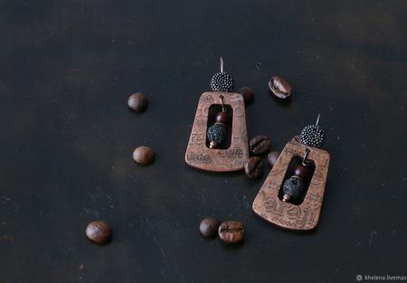 Серьги классические из дерева с декупажем «Макиато» ручной работы на заказ