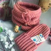 Комплект вязаный - шапка-тыковка и снуд