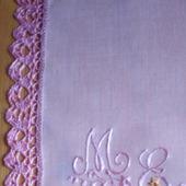 Платочки кружевные с вышивкой монограмм