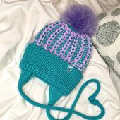 Детская шапка с ушками и завязками