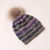 Зимняя шапка-бини с помпоном