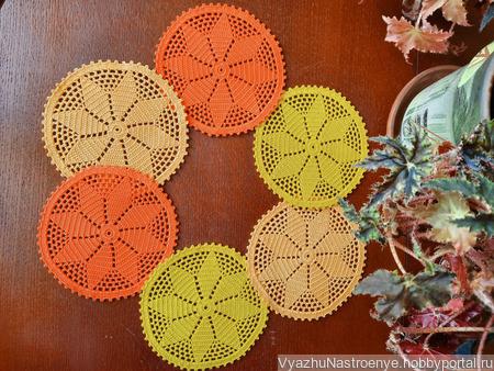 Набор салфеток для чаепития «Оранжевое настроение» ручной работы на заказ