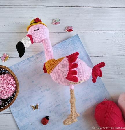 Амигуруми куклы и игрушки: Фламинго ручной работы на заказ