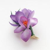 Брошь крокусы фиолетовые желтые цветы весенние