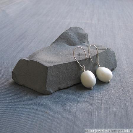"""Серьги """"Spirit"""" из серебра с кальцитом ручной работы на заказ"""
