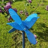 """Деревянная игрушка флюгер для сада """"Синяя Птица"""""""