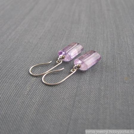 """Серьги """"Irises"""" из серебра с аметистом ручной работы на заказ"""