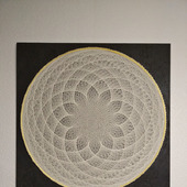 "Картина-панно в технике String Art ""Белый лотос"""