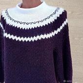 """Описание вязания """"Пуловер с круглой кокеткой  спицами прямым полотном"""""""