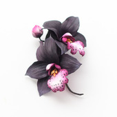 Брошь орхидея темная, черные цветы из фоамирана